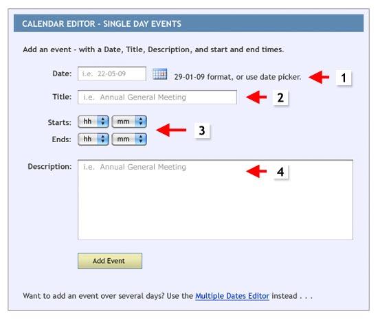 spanglefish calendar - single event editor