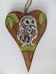 Little Owl On Wooden Heart