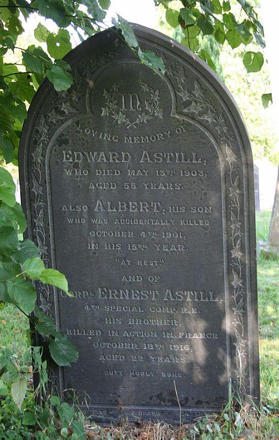 ernest astill - memorial headstone