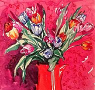 Tulips in Red Jug. Sold