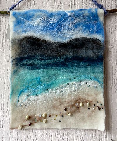 wet felted seascape picture crafty ewe workshop