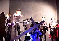 Jesus falls under His cross