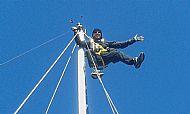Richard up the mast