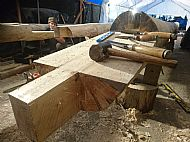 One half of a scarf joint for the Logie Sawmill shed 2018