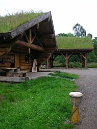 Milton Log building and Barn.Spruce Djembe made from left over log