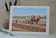 Ploughing Straight Furrow - working Suffolk horses