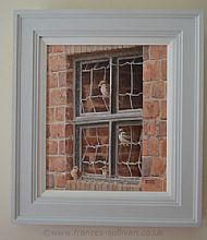lovely dove grey frame sets off farm sparrow painting beautifully