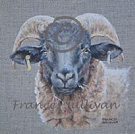 realistic painting of a norfolk horn sheep on grey linen canvas