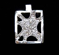 Hand Carved Sterling Silver Web Pendant
