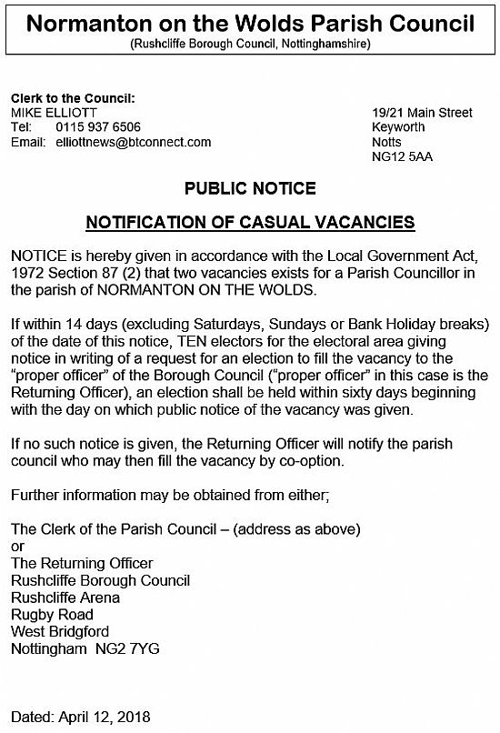notification of casual vacancies