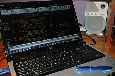 laptop computer screen with autocad loaded