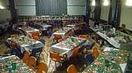 Hall set up for 80 people at Xmas