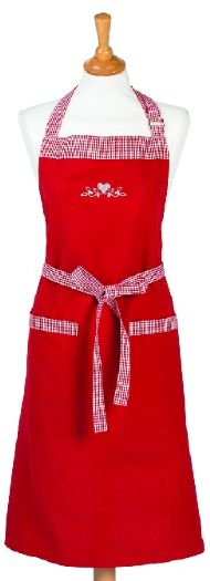 RED APRON WITH EMBROIDERED HEART