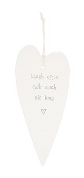 CERAMIC HEART DECORATIVE HANGER - SIT LONG