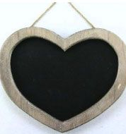 WOODEN HEART FRAMED BLACKBOARD