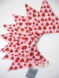 PINK STRAWBERRY PRINT FABRIC BUNTING