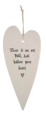 CERAMIC HEART DECORATIVE HANGER - FOLLOW YOUR HEART