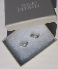 ROSIE BROWN SILVER BIRDIE STUD EARRINGS