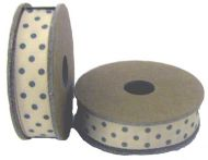 EAST OF INDIA CREAM DOT RIBBON