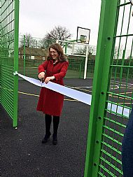 Cllr Rachel Lumsdon performs the official ribbon cutting at Fishburn's new games area