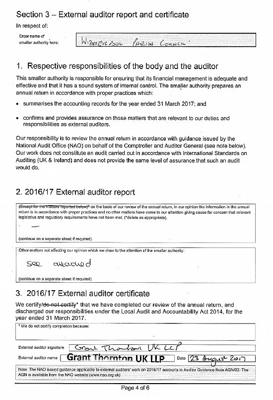 Widmerpool Parish Council  External Auditor Report