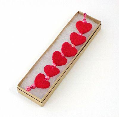 pink felt heart bracelet by roses felt workshop