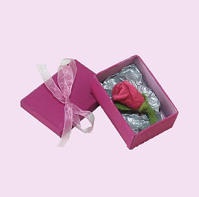 rosebud brooch in pink gift box with ribbon