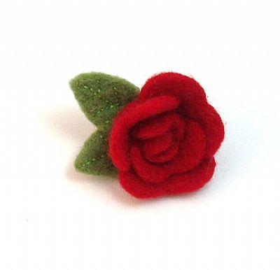 needle-felted rose brooch
