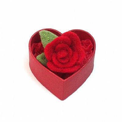 valentine rose red felt rose brooch in heart shaped gift box by roses felt workshop