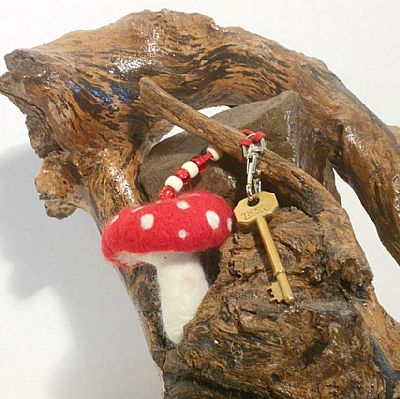 felted pixie toadstool bag charm by roses felt workshop