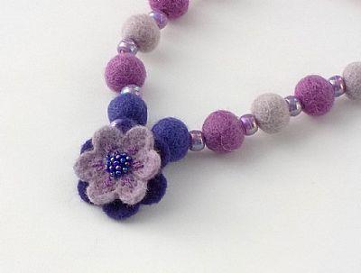 felt flower and bead necklace by roses felt workshop