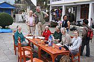 At Chomrong: Clare, Tim, Eddie, Tricia, Edmund, Liz and Julia with Pasang behind Liz