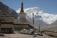 Classic view of the Rongbuk monastery, stupa and glacier leading up to Mount Everest