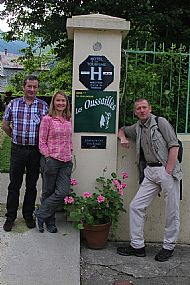 Driver, Lisa and Simon at end of Stage 5 in Aulus-Les-Bains