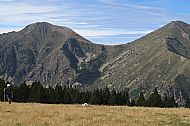 Looking back from the Col del Pal to the Coll Mitja and the Pic de Gallinas (the Hen)(Right)