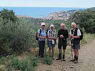 Jane, Julia, Hec and Angus. Our destination, Banyuls-Sur-Mer, behind.