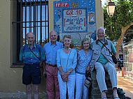 Hec, Angus, Jane, Julia, JMGG at the Banyuls GR10 destination notice.