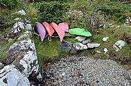 Modern Paddle Craft Off Duty in a Naust at Balmeanach Bay Braes Isle of Skye ga2