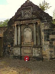 Wreath at Greyfriars Covenanter Prison.