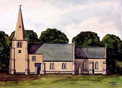 painting of flawford church