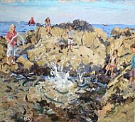 Big splash at the rockpool, oil on linen 36