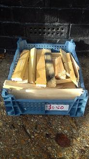 Tray of kindling wood