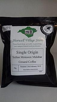 Single origin Indian Monsoon Malabar ground coffee
