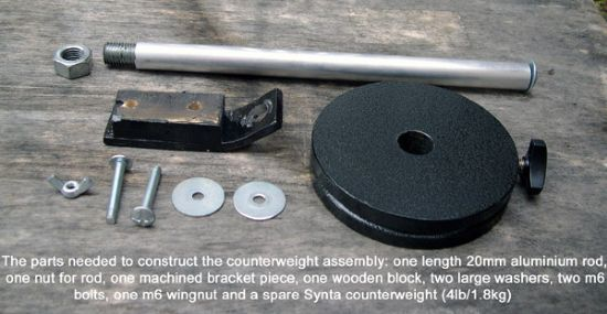 parts needed: alu bar, counterweight, nuts, washers and bolts