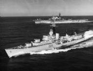HMS Victorious behind Dunkirk Med 1960