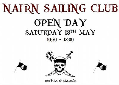 nairn sailing club open day poster saturday 18 may 10.30 to 15.00 pirate theme