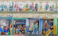 Lyme Regis Beach Hut life. Detail from larger painting