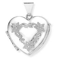 9CT WHITE GOLD FOUR PICTURE HEART LOCKET