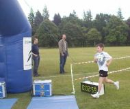 Jamie Ross finishes the 1 km Jog Scotland Inverness Fun Run - 02/07/08