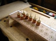 Primary valves being glued into valve chest.